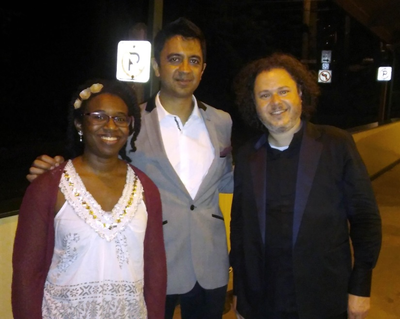 after the concert with Iyer and Haimovitz