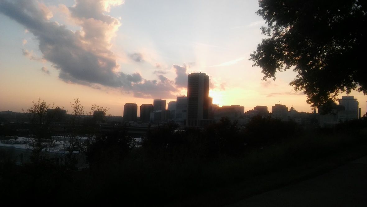 Richmond skyline at sunset